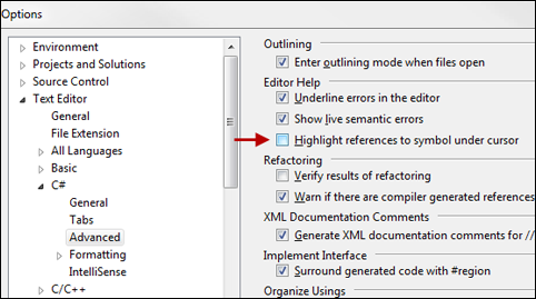 Options Dialog - Highlight References